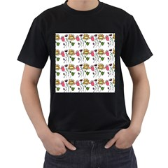 Handmade Pattern With Crazy Flowers Men s T-Shirt (Black)