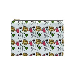 Handmade Pattern With Crazy Flowers Cosmetic Bag (medium)