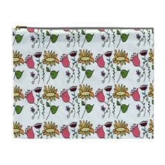 Handmade Pattern With Crazy Flowers Cosmetic Bag (xl)