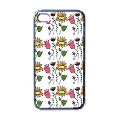 Handmade Pattern With Crazy Flowers Apple iPhone 4 Case (Black)