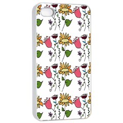 Handmade Pattern With Crazy Flowers Apple iPhone 4/4s Seamless Case (White)