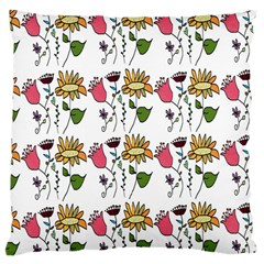 Handmade Pattern With Crazy Flowers Large Cushion Case (One Side)