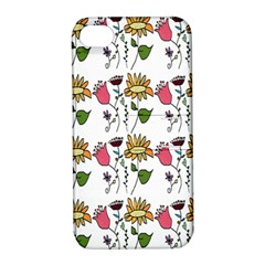 Handmade Pattern With Crazy Flowers Apple iPhone 4/4S Hardshell Case with Stand