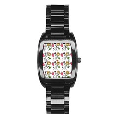 Handmade Pattern With Crazy Flowers Stainless Steel Barrel Watch