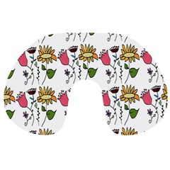 Handmade Pattern With Crazy Flowers Travel Neck Pillows