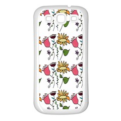 Handmade Pattern With Crazy Flowers Samsung Galaxy S3 Back Case (White)