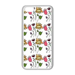 Handmade Pattern With Crazy Flowers Apple iPhone 5C Seamless Case (White)