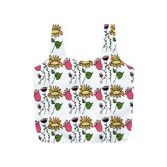 Handmade Pattern With Crazy Flowers Full Print Recycle Bags (S)