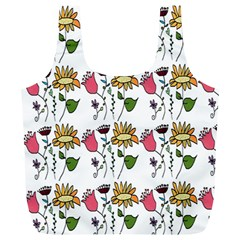 Handmade Pattern With Crazy Flowers Full Print Recycle Bags (L)