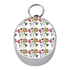 Handmade Pattern With Crazy Flowers Mini Silver Compasses
