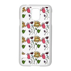 Handmade Pattern With Crazy Flowers Samsung Galaxy S5 Case (White)