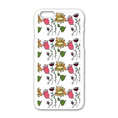 Handmade Pattern With Crazy Flowers Apple iPhone 6/6S White Enamel Case