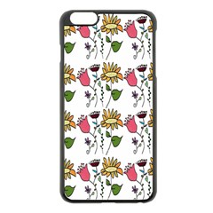 Handmade Pattern With Crazy Flowers Apple iPhone 6 Plus/6S Plus Black Enamel Case