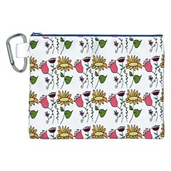 Handmade Pattern With Crazy Flowers Canvas Cosmetic Bag (xxl)