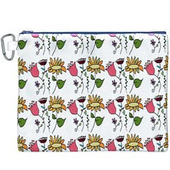 Handmade Pattern With Crazy Flowers Canvas Cosmetic Bag (XXXL)