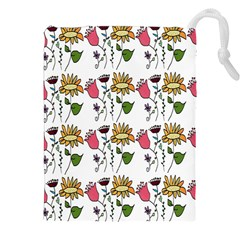 Handmade Pattern With Crazy Flowers Drawstring Pouches (xxl)
