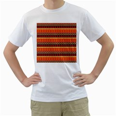 Abstract Lines Seamless Pattern Men s T-Shirt (White) (Two Sided)