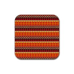 Abstract Lines Seamless Pattern Rubber Square Coaster (4 Pack)
