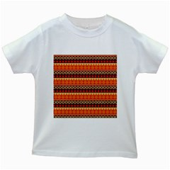 Abstract Lines Seamless Pattern Kids White T Shirts
