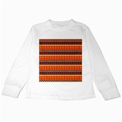 Abstract Lines Seamless Pattern Kids Long Sleeve T-Shirts