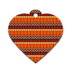 Abstract Lines Seamless Pattern Dog Tag Heart (Two Sides)