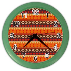 Abstract Lines Seamless Pattern Color Wall Clocks