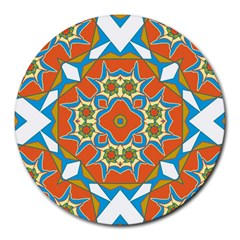 Digital Computer Graphic Geometric Kaleidoscope Round Mousepads