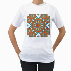 Digital Computer Graphic Geometric Kaleidoscope Women s T Shirt (white) (two Sided)