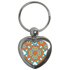 Digital Computer Graphic Geometric Kaleidoscope Key Chains (Heart)