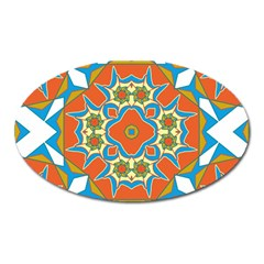 Digital Computer Graphic Geometric Kaleidoscope Oval Magnet