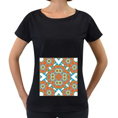 Digital Computer Graphic Geometric Kaleidoscope Women s Loose Fit T Shirt (black)