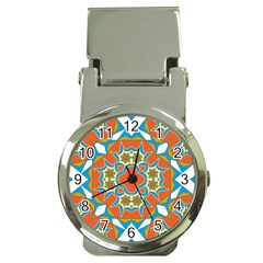 Digital Computer Graphic Geometric Kaleidoscope Money Clip Watches