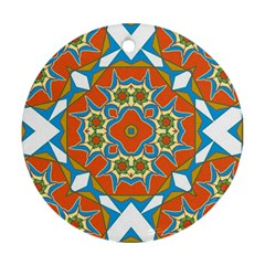 Digital Computer Graphic Geometric Kaleidoscope Round Ornament (Two Sides)
