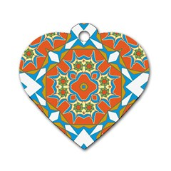 Digital Computer Graphic Geometric Kaleidoscope Dog Tag Heart (two Sides)