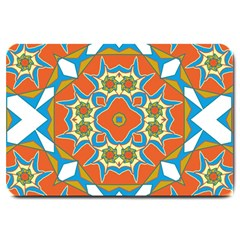 Digital Computer Graphic Geometric Kaleidoscope Large Doormat