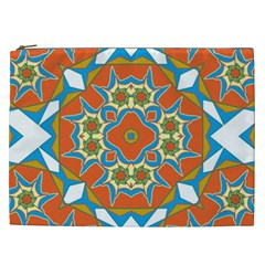 Digital Computer Graphic Geometric Kaleidoscope Cosmetic Bag (XXL)