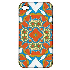 Digital Computer Graphic Geometric Kaleidoscope Apple iPhone 4/4S Hardshell Case (PC+Silicone)