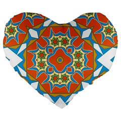 Digital Computer Graphic Geometric Kaleidoscope Large 19  Premium Heart Shape Cushions