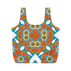 Digital Computer Graphic Geometric Kaleidoscope Full Print Recycle Bags (M)