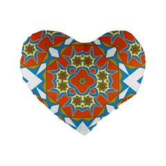 Digital Computer Graphic Geometric Kaleidoscope Standard 16  Premium Flano Heart Shape Cushions
