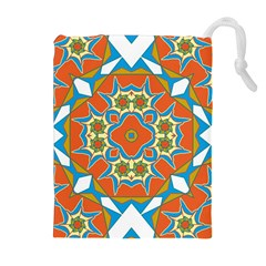 Digital Computer Graphic Geometric Kaleidoscope Drawstring Pouches (extra Large)