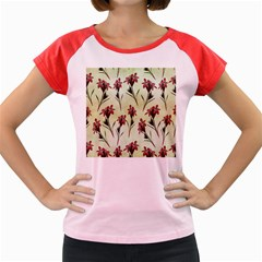 Vintage Style Seamless Floral Wallpaper Pattern Background Women s Cap Sleeve T Shirt