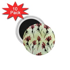 Vintage Style Seamless Floral Wallpaper Pattern Background 1 75  Magnets (10 Pack)