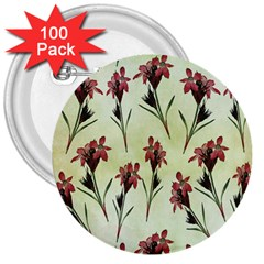 Vintage Style Seamless Floral Wallpaper Pattern Background 3  Buttons (100 pack)