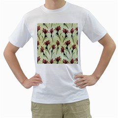 Vintage Style Seamless Floral Wallpaper Pattern Background Men s T Shirt (white) (two Sided)
