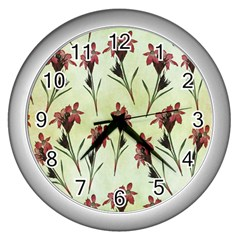 Vintage Style Seamless Floral Wallpaper Pattern Background Wall Clocks (silver)