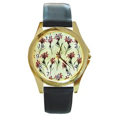 Vintage Style Seamless Floral Wallpaper Pattern Background Round Gold Metal Watch