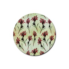 Vintage Style Seamless Floral Wallpaper Pattern Background Rubber Coaster (round)