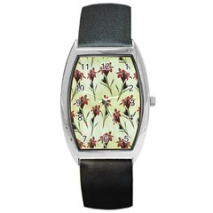 Vintage Style Seamless Floral Wallpaper Pattern Background Barrel Style Metal Watch