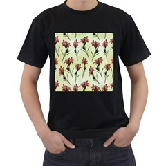 Vintage Style Seamless Floral Wallpaper Pattern Background Men s T-Shirt (Black) (Two Sided)